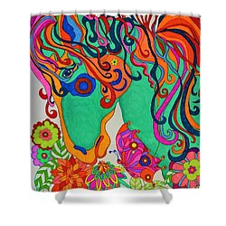 Shower Curtain featuring the painting A Rainbow Called Romeo by Alison Caltrider