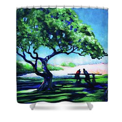 Shower Curtain featuring the painting A Spot Of Sun by Angela Treat Lyon