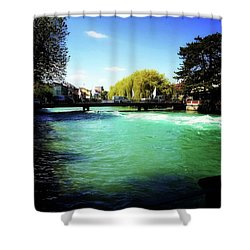 Aare River Shower Curtain by Mimulux patricia no No
