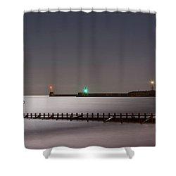 Aberdeen Beach At Night Shower Curtain