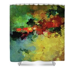 Shower Curtain featuring the painting Abstract And Minimalist  Landscape Painting by Ayse Deniz