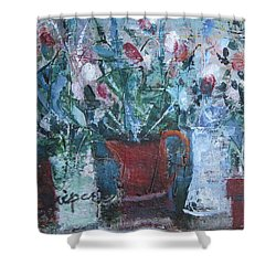 Abstract Flowers Shower Curtain by Betty Pieper