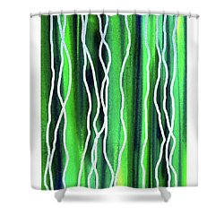 Abstract Lines On Green Shower Curtain
