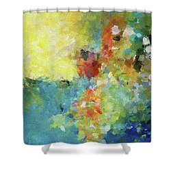 Shower Curtain featuring the painting Abstract Seascape Painting by Ayse Deniz
