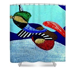Shower Curtain featuring the painting Abstract Silver by Rod Ismay