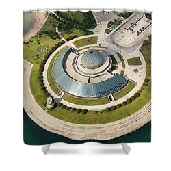 Shower Curtain featuring the photograph Adler Planetarium Aerial by Adam Romanowicz