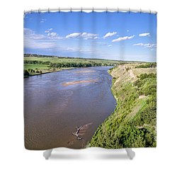 aerial view of Niobrara River in Nebraska Sand Hills Shower Curtain