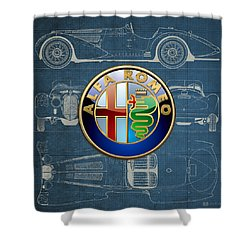 Alfa Romeo 3 D Badge Over 1938 Alfa Romeo 8 C 2900 B Vintage Blueprint Shower Curtain by Serge Averbukh