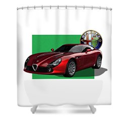 Alfa Romeo Zagato  T Z 3  Stradale With 3 D Badge  Shower Curtain