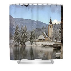 Shower Curtain featuring the photograph Alpine Winter Clarity by Ian Middleton