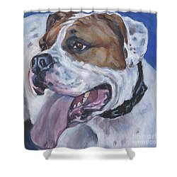 Shower Curtain featuring the painting American Bulldog by Lee Ann Shepard