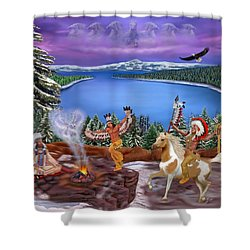 Among The Spirits Shower Curtain by Glenn Holbrook