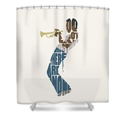 Shower Curtain featuring the digital art Miles Davis Typography Art by Inspirowl Design