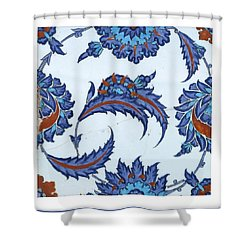 An Iznik Polychrome Pottery Tile Shower Curtain