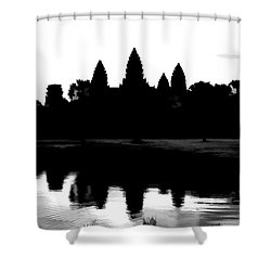 Angkor Wat Black  Shower Curtain