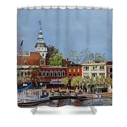 Annapolis Harbor Shower Curtain by Mary Susan Vaughn