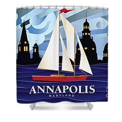 Annapolis Skyline Red Sail Boat Shower Curtain