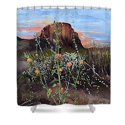 Arizona Desert Flowers-dwarf Indian Mallow Shower Curtain