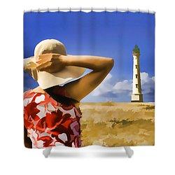 Aruba Lighthouse Shower Curtain by Dennis Cox WorldViews