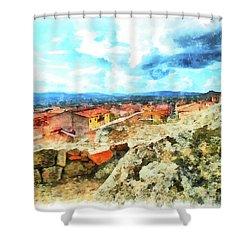 Arzachena Landscape With Clouds Shower Curtain