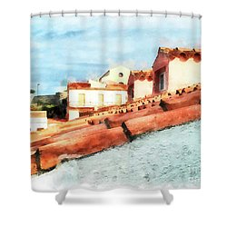 Arzachena Roof And Church Shower Curtain