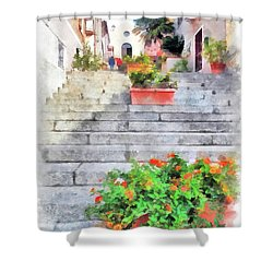 Arzachena Staircase And Church Of The Santa Lucia Shower Curtain