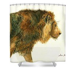 Asiatic Lion Shower Curtain by Juan Bosco