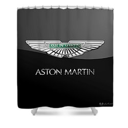 Aston Martin 3 D Badge On Black  Shower Curtain by Serge Averbukh
