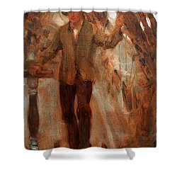 Shower Curtain featuring the painting At The Break Of The Poop  by Henry Scott Tuke