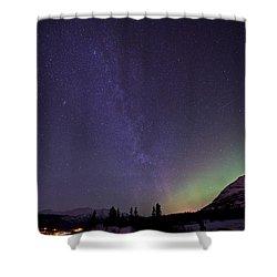 Aurora Borealis And Milky Way Shower Curtain by Jonathan Tucker