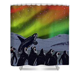Shower Curtain featuring the digital art Aurora Borealis by Methune Hively