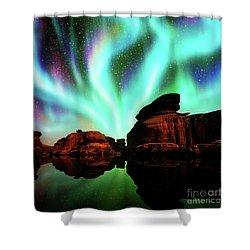 Aurora Over Lagoon Shower Curtain