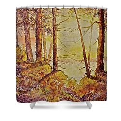 Shower Curtain featuring the painting Autumn Glow by Carolyn Rosenberger