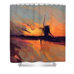 Autumn Indian Summer Windmill Holland Shower Curtain by Nop Briex