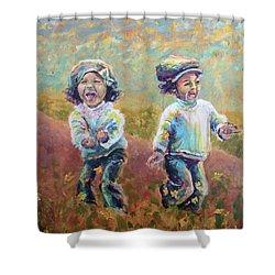 Shower Curtain featuring the painting Autumn Joy by Lisa DuBois