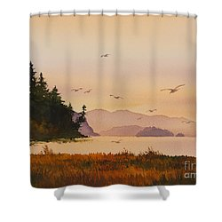 Shower Curtain featuring the painting Autumn Shore by James Williamson