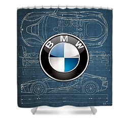 B M W 3 D Badge Over B M W I8 Blueprint  Shower Curtain by Serge Averbukh