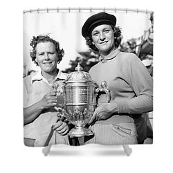 Patty Berg And Babe Didrikson Shower Curtain by Underwood Archives