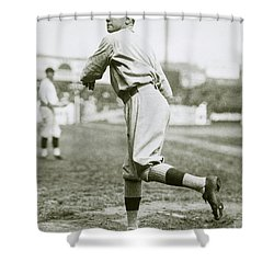 Babe Ruth Pitching Shower Curtain