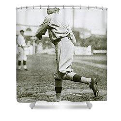 Babe Ruth Pitching Shower Curtain by Jon Neidert