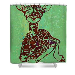 Baby Giraffe - Pop Modern Etching Art Poster Shower Curtain by Kim Wang