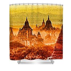 Bagan Pagodas Shower Curtain by Dennis Cox WorldViews