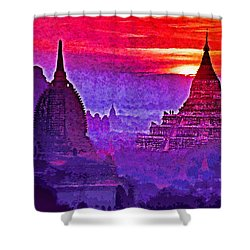 Bagan Sunrise Shower Curtain by Dennis Cox WorldViews