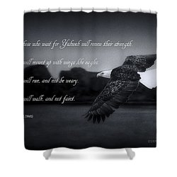 Shower Curtain featuring the photograph Bald Eagle In Flight With Bible Verse by John A Rodriguez