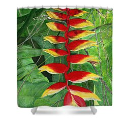 Shower Curtain featuring the painting Balinese Heliconia Rostrata by Melly Terpening