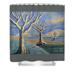 Bare Trees Shower Curtain by Judy Via-Wolff