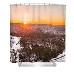 Barkhamsted Reservoir And Saville Dam In Connecticut, Sunrise Panorama Shower Curtain by Petr Hejl