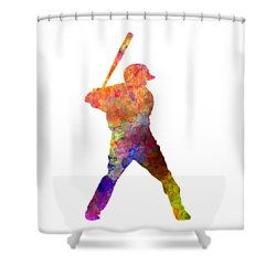 Baseball Player Waiting For A Ball Shower Curtain by Pablo Romero