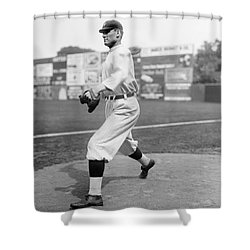 Baseball Star Walter Johnson Shower Curtain by Underwood Archives