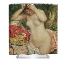 Bather Arranging Her Hair Shower Curtain by Pierre Auguste Renoir